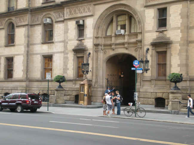 Outside the Dakota, where John Lennon lived and died.